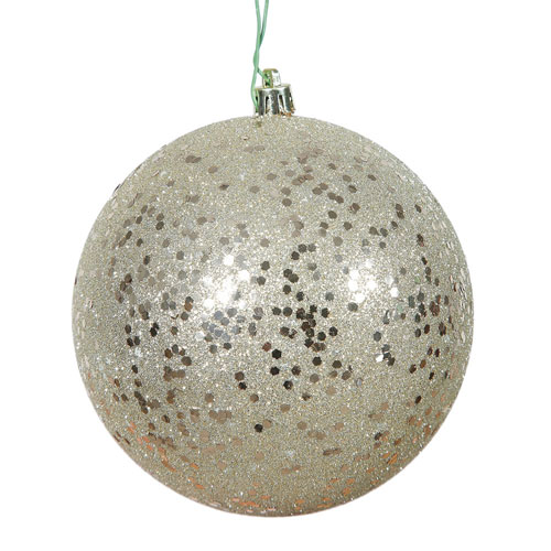 Champagne Sequin Ball Ornament, Set of Four