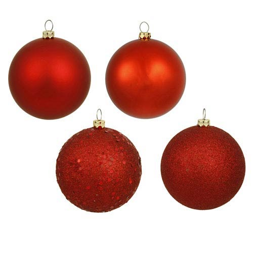 Red 8-Inch Four Finish Drilled Ball Ornament, Box of Four
