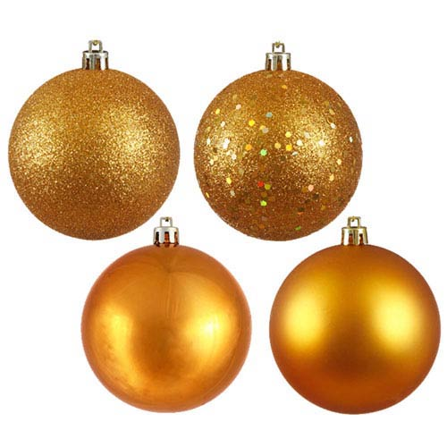 Antique Gold 8-Inch Four Finish Drilled Ball Ornament, Box of Four