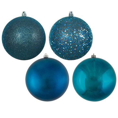 Sea Blue Assorted Ball Ornaments, Set of Four