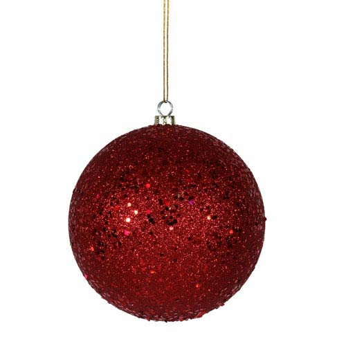 Red 12-Inch Sequin Ball Ornament