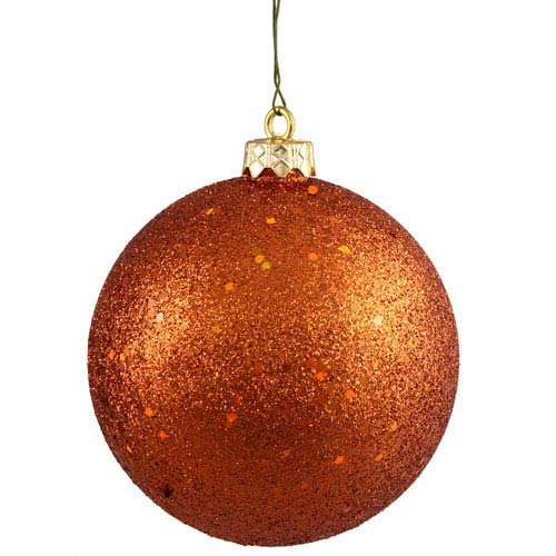Burnish Orange 12-Inch Sequin Ball Ornament