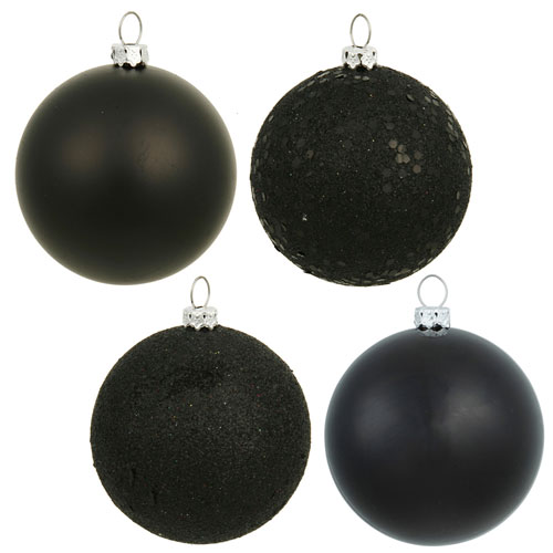 Black Assorted Ball Ornaments, Set of Sixty