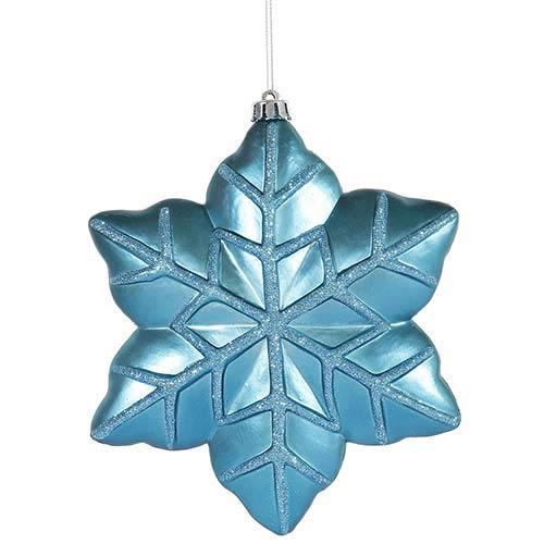 Vickerman Turquoise 8-Inch Snowflake Ornament, 2 per Box