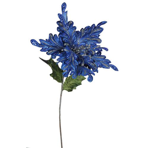 Blue Poinsettia Flower, Set of Three