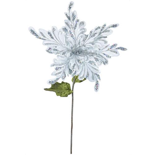 Silver Poinsettia Flower, Set of Three