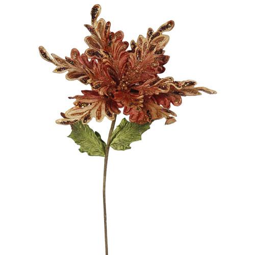 Copper Poinsettia Flower, Set of Three