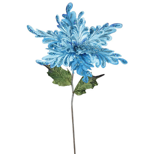 Sky Blue Poinsettia Flower, Set of Three