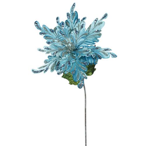 Sea Blue Poinsettia Flower, Set of Three