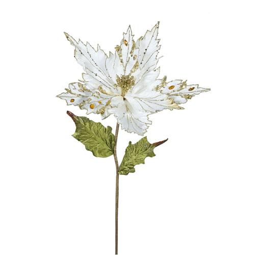 Vickerman Cream Poinsettia Flower, Set of Three