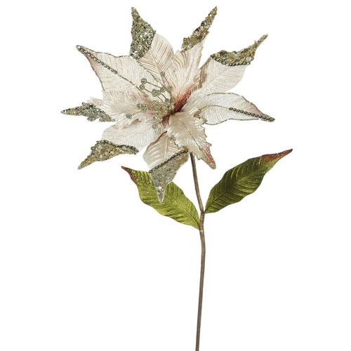 Vickerman Champagne Poinsettia Flower, Set of Three