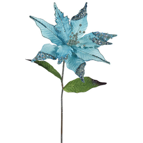 Vickerman Sea Blue Poinsettia Flower, Set of Three
