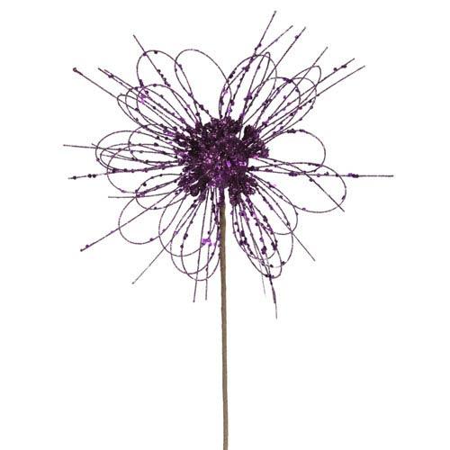 Purple Sparkle Blossom Pick 10-inch