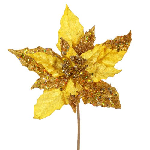 Vickerman Gold Velvet Mica Poinsettia Pick 10-inch