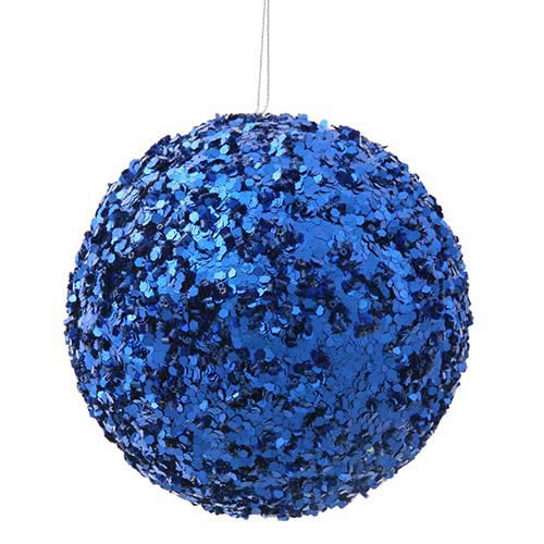 Blue 5-Inch Sparkle Sequin Kissing Ball Ornament