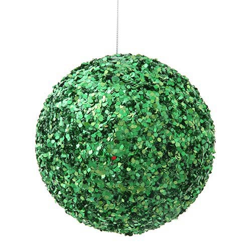 Green 5-Inch Sparkle Sequin Kissing Ball Ornament