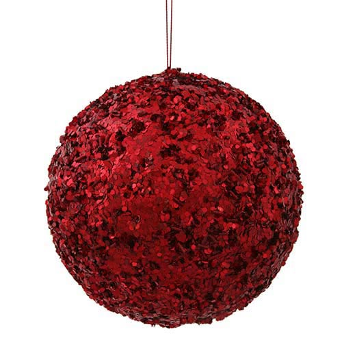 Vickerman Red 6-Inch Sparkle Sequin Kissing Ball Ornament