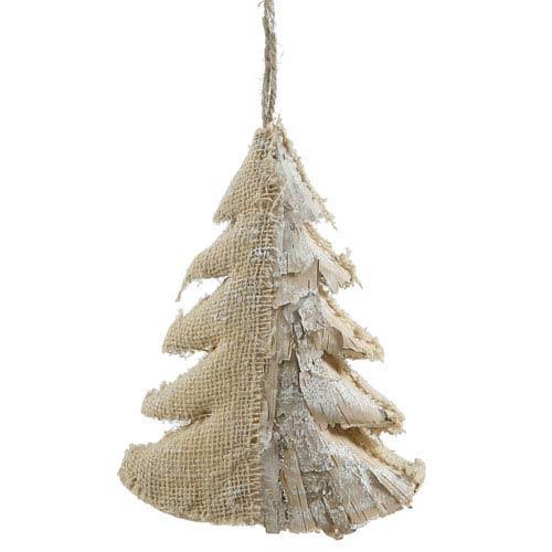 White and Tan 10-Inch Half Burlap Half Birch Glitter Tree Ornament