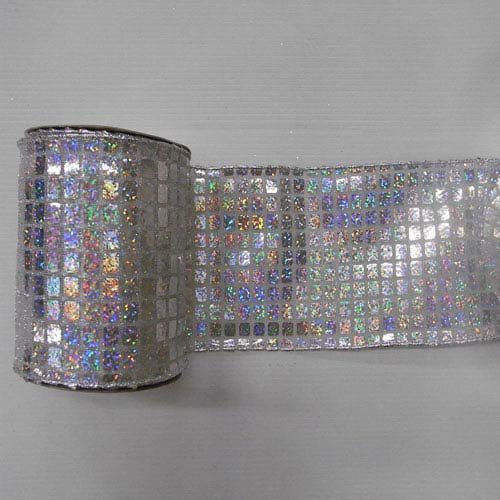 Silver and White 30 Foot Metallic Check Ribbon