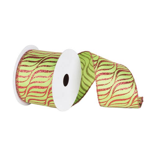 Red and Lime 30 Foot Zebra Ribbon