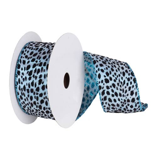 Teal and Black 30 Foot Lame Velvet Leopard Ribbon
