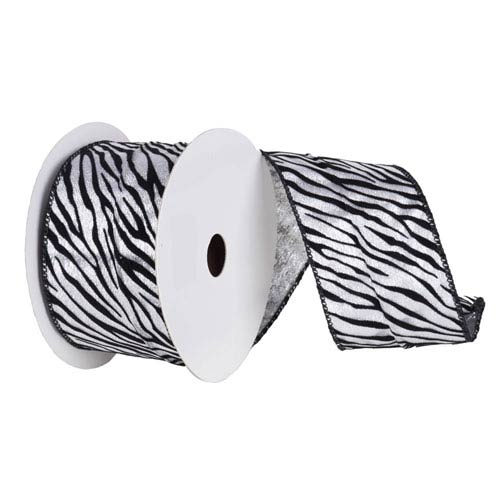 Silver and Black 30 Foot Velvet Zebra Ribbon
