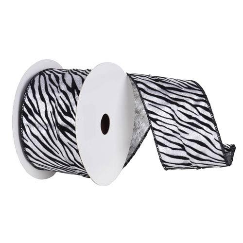 Silver and Black 30 Foot Velvet Zebra Ribbon