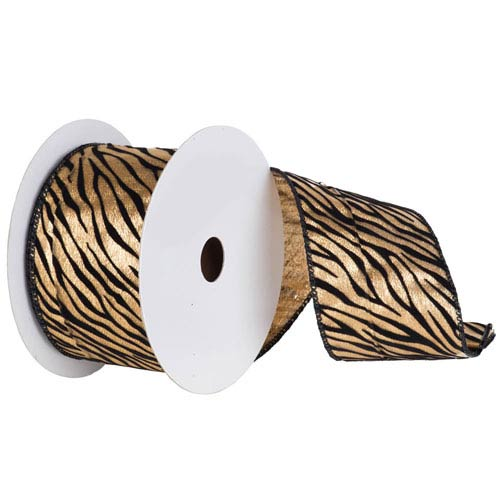 Gold and Black 30 Foot Velvet Zebra Ribbon