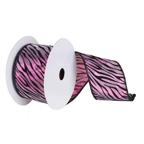 Fuchsia and Black 30 Foot Lame Velvet Zebra Ribbon