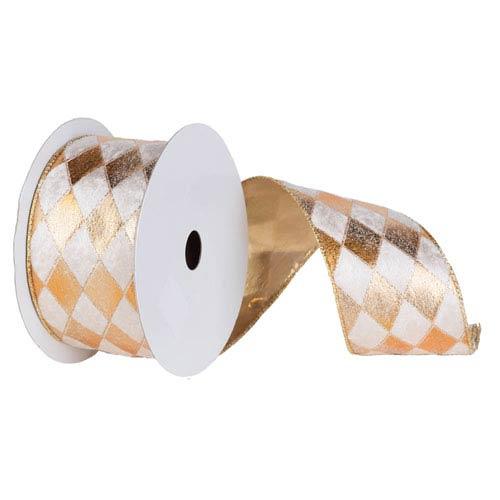 Gold and Cream 30 Foot Diamond Ribbon