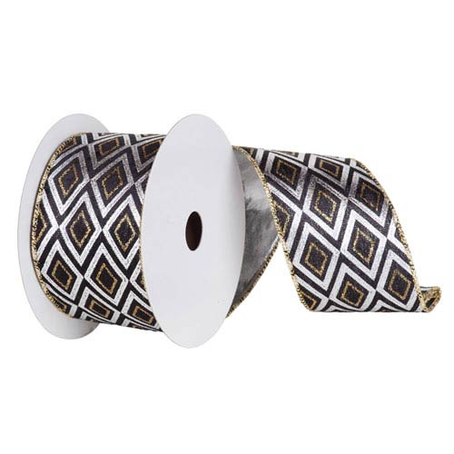 Silver and Black 30 Foot Diamond Lame Ribbon