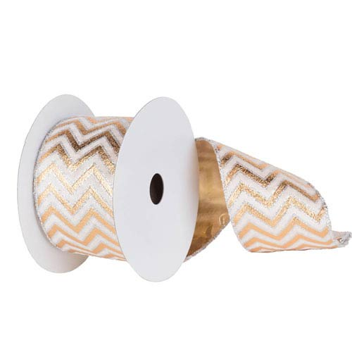 Cream and Gold 30 Foot Chevron Lame Ribbon