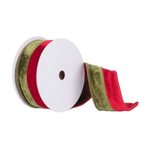 Red andGreen Velvet Ribbon, Ten Yards