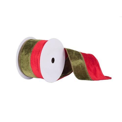 Vickerman Red and Green Velvet Ribbon, Ten Yards