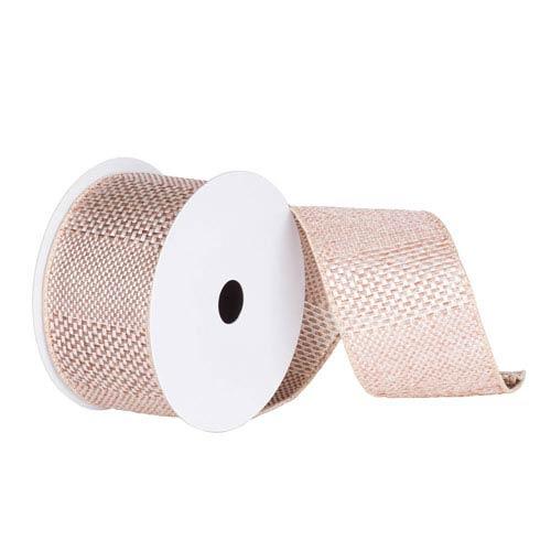 Beige 30 Foot Textured Wide Stripe Ribbon
