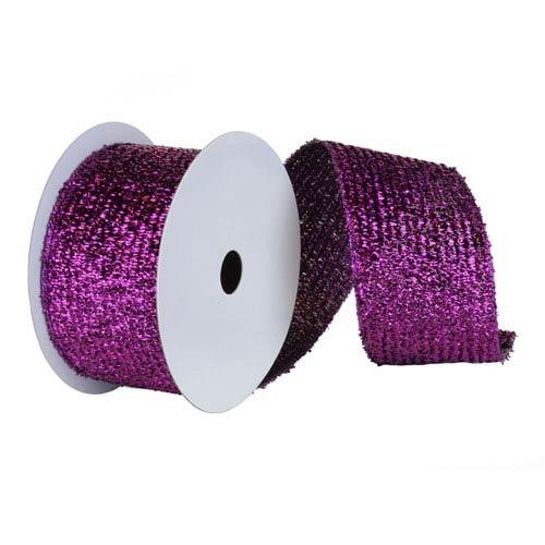 Purple 30 Foot Woven Metallic Ribbon