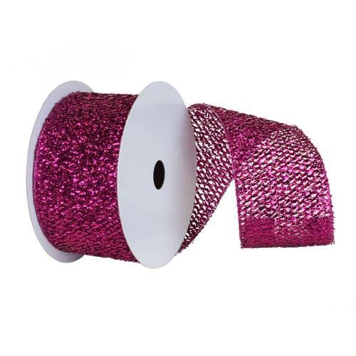 Cerise 30 Foot Woven Metallic Ribbon