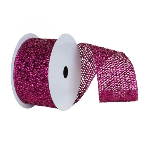 Cerise 30 Foot Woven Metallic Ribbon