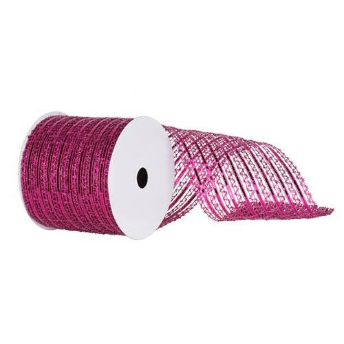 Cerise 30 Foot Metallic Striped Wired Mesh Ribbon