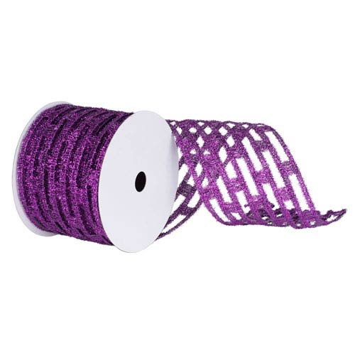 Purple 30 Foot Metallic Rectangle Wired Mesh Ribbon