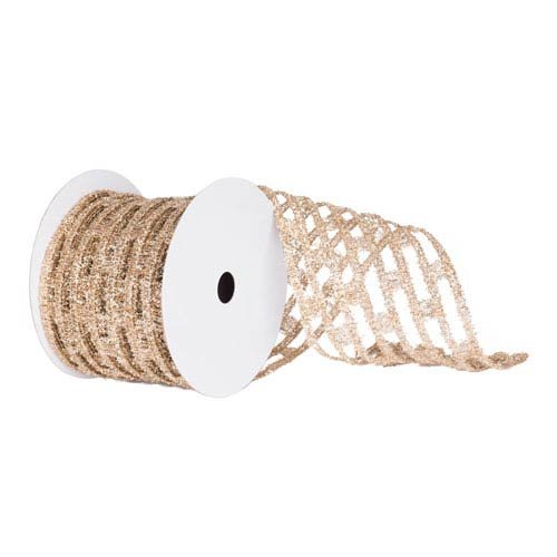 Champagne 30 Foot Metallic Rectangle Wired Mesh Ribbon