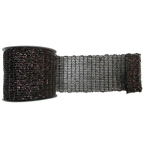 Chocolate 30 Foot Metallic Wired Mesh Ribbon