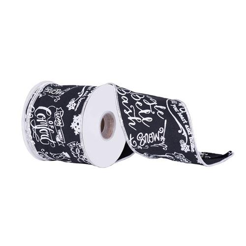 Black and White Chalk Board Ribbon, Ten Yards