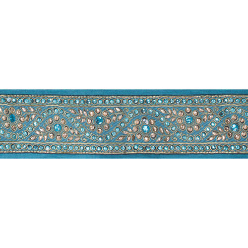 Turquoise Gold Stone Trim Ribbon, Five Yards