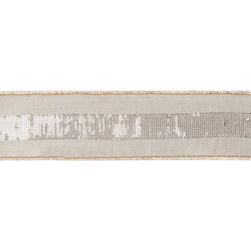 Gold Sequin Stripe Sage Ribbon, Five Yards