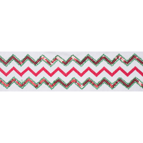 Vickerman Red and Green Sequin Chevron White Ribbon, Five Yards