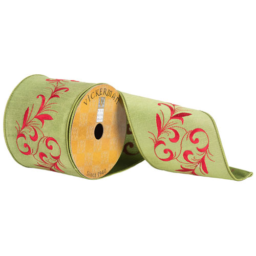 Green Red Embroiderd Vine Ribbon, Ten Yards