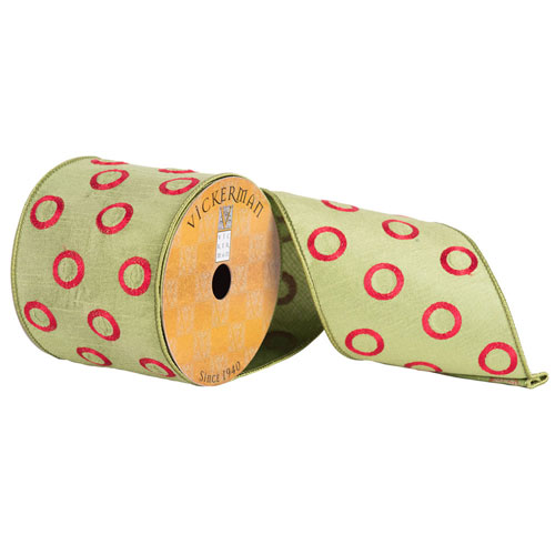 Green with Red Circles Ribbon, Ten Yards