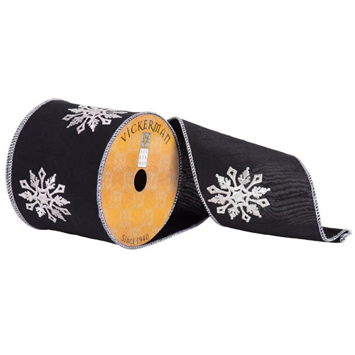 Black with White Snowflakes Ribbon, Ten Yards