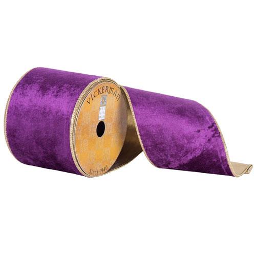 Vickerman Purple Plush Velvet Gold Edge Ribbon, Ten Yards